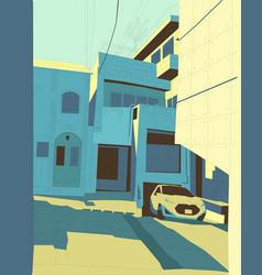 Tokyo yard color car in old vector