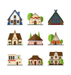 Traditional buildings houses and constructions vector