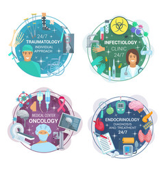Traumatology oncology and infectology doctors vector