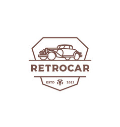 vintage retro car logo design or classic vector image