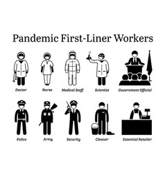 Virus pandemic first-liner workers icons vector