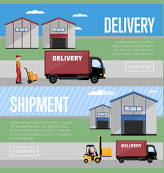 Warehouse process infographics banners vector