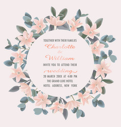 wedding invitation with eucalyptus and flowers vector image