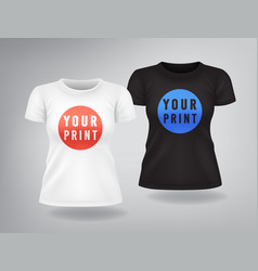 white and black woman t-shirts with short sleeves vector image