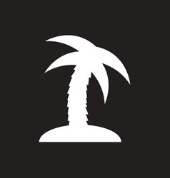 white icon on black background palm tree vector image