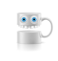 White mug of two parts with two eyes and teeth vector