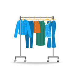 Women jeans clothes hanging on hanger rack vector