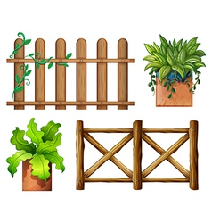 Wooden fence and potted plants vector