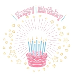 Birthday cake with candles and stars vector image vector image