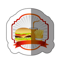 color emblem with hamburger soda and fries french vector image