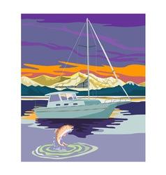 Sailboat Retro vector image vector image