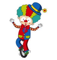 happy clown riding on wheel vector image vector image
