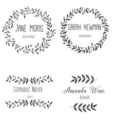 Set hand drawn logo Nature design allements vector image vector image