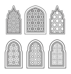 Set of ornamental windows in black and white vector