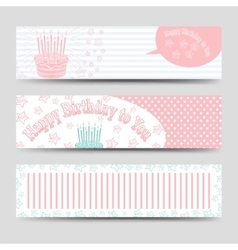 Birthday banners template with cake vector image