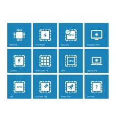 Electronic chip icons on blue background vector image