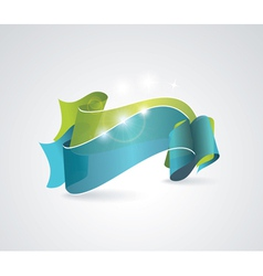Green and blue transparent ribbons vector image vector image