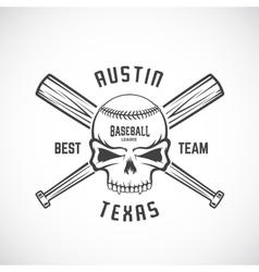 Hand drawn baseball team logo template skull and vector