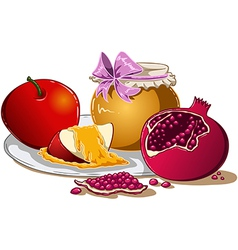 Honey Apple And Pomegranate For Rosh Hashanah vector image vector image