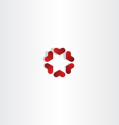 red hearts in circle sign icon love vector image vector image