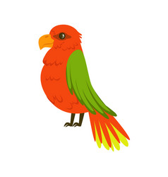 beautiful red parrot with green wings colorful vector image
