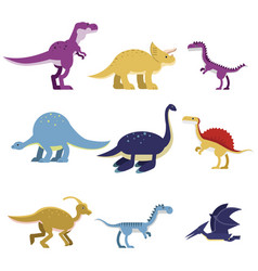 cartoon dinosaur animals set cute prehistoric and vector image