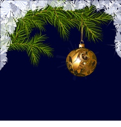 Christmas ball with fir branches vector image
