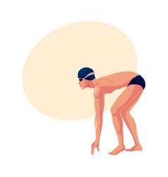 male swimmer in starting position ready do dive vector image vector image