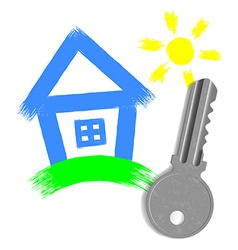 painted house and key from the lock isolated on vector image vector image