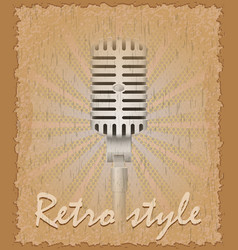 retro style poster old microphone vector image vector image