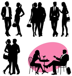 several people silhouettes vector image