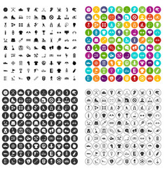 100 sports activities icons set variant vector
