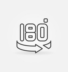 180 degree concept icon or logo in thin vector