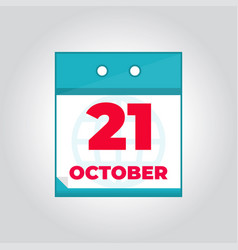 21 october flat daily calendar icon vector image