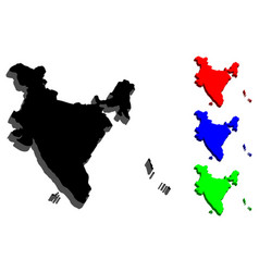3d map of india vector