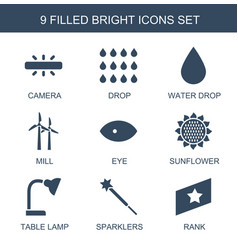 9 bright icons vector
