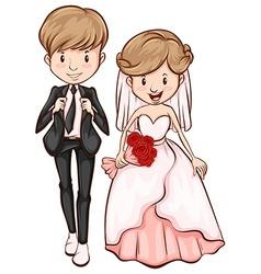 A sketch a happy couple vector