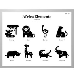 Africa elements solid pack vector
