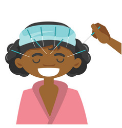 african-american woman getting acupuncture therapy vector image