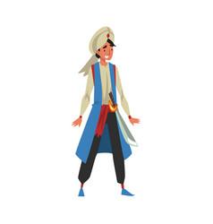 Aladdin arab prince man in oriental costume vector