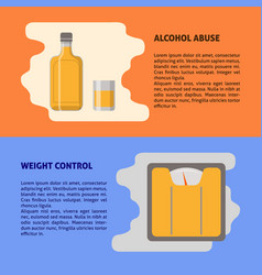 alcohol and weight control banner templates in vector image
