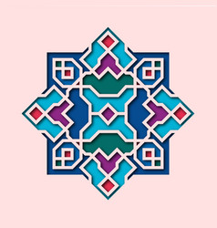 Arabesque pattern vignette in oriental style vector