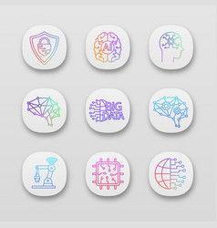 artificial intelligence app icons set vector image