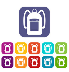 Backpack icons set flat vector