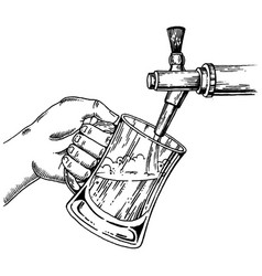 Beer pours glass from tap engraving vector