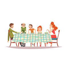 big family sitting at kitchen table with checkered vector image