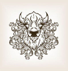 Bison head with floral ornament engraving vector