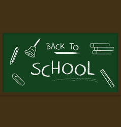 blackboard banner back to school chalk text vector image
