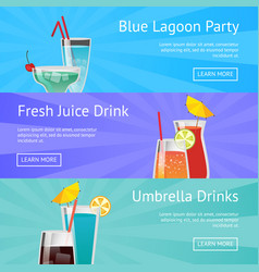 blue lagoon party fresh juice drinks with umbrella vector image