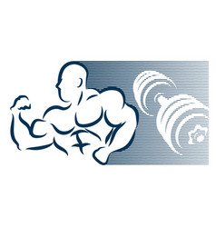bodybuilder and dumbbell silhouette vector image
